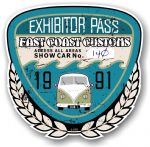 Aged Vintage 1991 Dated Car Show Exhibitor Pass Design Vinyl Car sticker decal  89x87mm